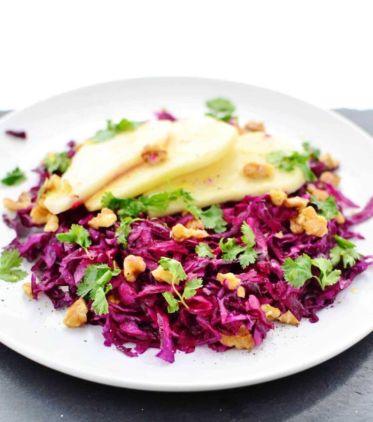Pickled Red Cabbage Slaw With Pear Walnuts Everyday Healthy Recipes