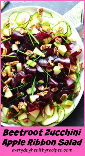 Beetroot Zucchini Apple Ribbon Salad with Pecans and Maple Vinaigrette