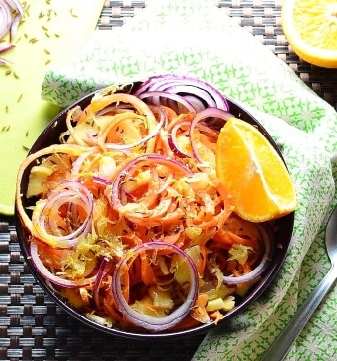 Sauerkraut Salad with Spiralized Carrot and Apple