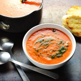 Easy Roasted Pepper Tomato Soup with Quinoa
