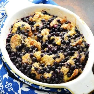 Low Sugar French Toast Casserole with Blueberries
