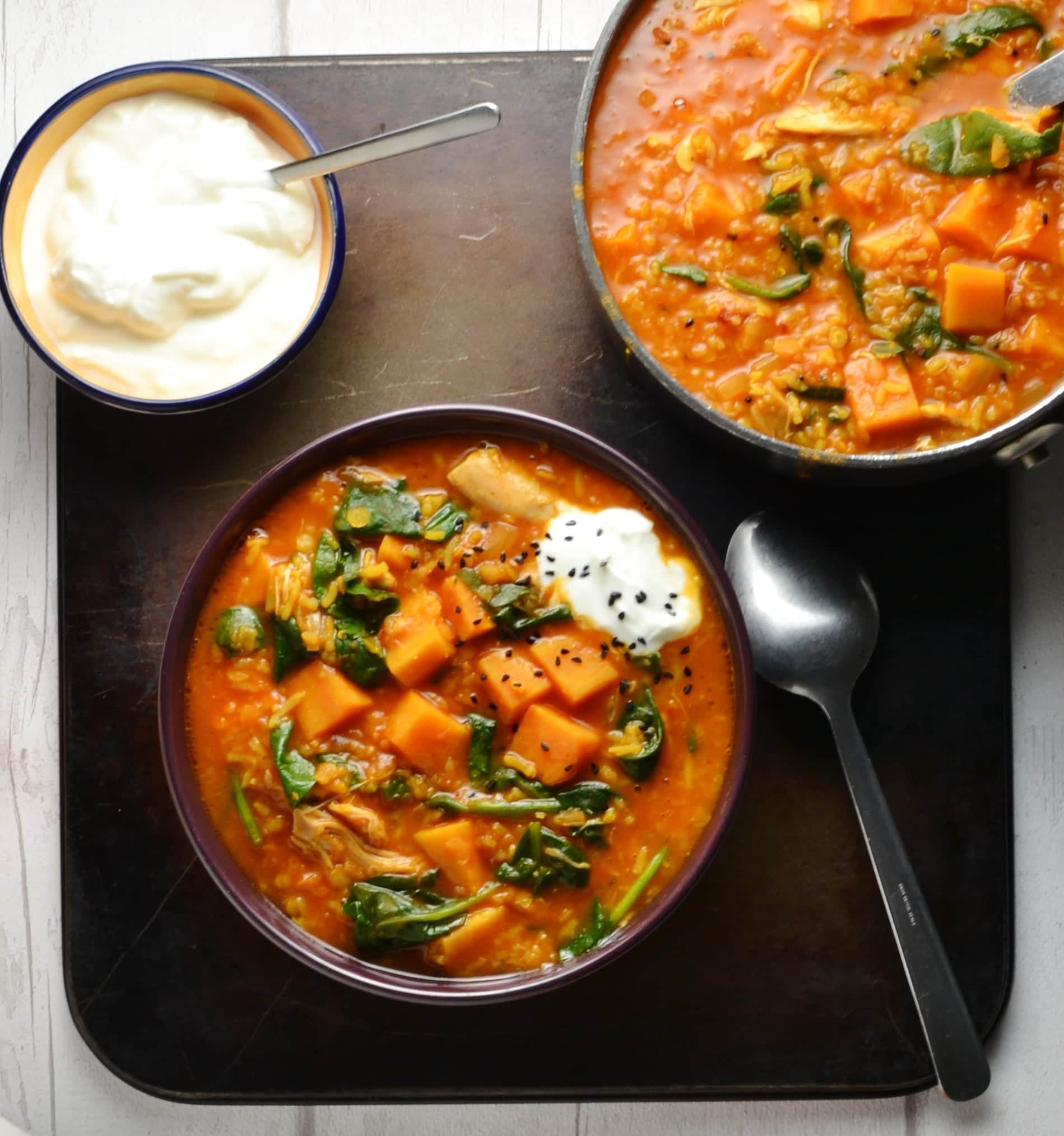 Chicken Mulligatawny Soup With Sweet Potato Spinach